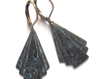 Verdigris Patina Earrings Art Deco Triangle Fashion Jewelry