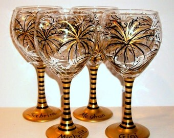 July 4th Fireworks Gold and Black & Ivory Patriotic July Fourth Hand Painted Wine Glasses Set of 4- 21 oz. New Years Independence Day