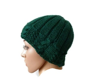Womens Knit Winter Hat, Green Beanie, Winter Hat, Knit Cable Beanie