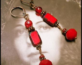 Red as a Rose, Czech Glass Edwardian Earrings, Downton Abbey Red Earrings, Victorian Red Dangles, Red Czech Glass  Dangles