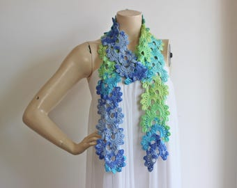 Lace Crochet Scarf-Rainbow Neckwarmer-Spring Cotton Scarf Shades of Blue,Green,Mint,Turquoise Scarf