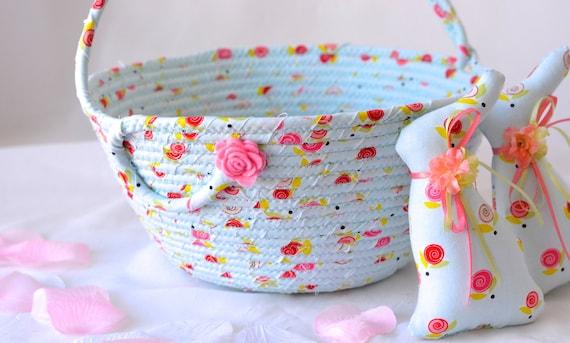 Sale... Girl Easter Basket and 1 Matching Easter Bunny, Handmade Easter Basket, Spring Basket, Blue Easter Bucket, Flower Girl Basket