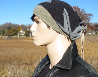 Cool Hats Baggy Slouch Beanie Cotton Saggy Men's Tam Unique Zig Zag Striped Cotton Knit Leather Tie Back Style A1548
