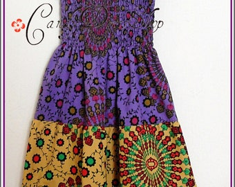 Girls Maxi Dress, Little Girls Long Dress, African maxi dress, Tiered maxi dress, Purple-yellow-green (Sizes 2,3,4,5,6,7.8,9,10 years)