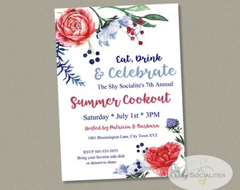 Floral Fourth Of July Invitation