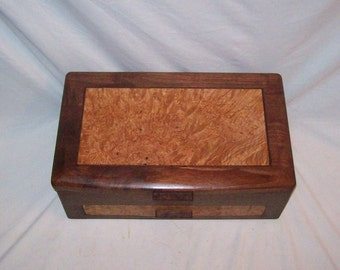 Ladies Large handcrafted Wooden Jewelry Box-Walnut and Maple Burl-The Elite Collection  15 1/2 inches x 10 inches x6 inches