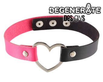 Punk Black & Hot Pink Leather Heart Choker Collar Adjustable Vegan