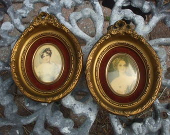 Cameo Creation Portraits Prints Ornate Victorian Vintage Antique Gold Frames Pair Set