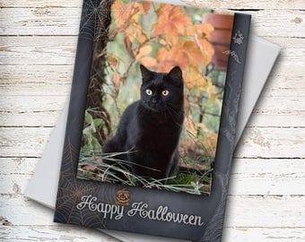 Happy Halloween, Greeting Card, Black Cat, Halloween Greeting, Halloween Card, Party Invitation, Black Cat Photo, Halloween Stationery