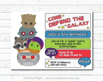 Tsum Tsum Guardians of the Galaxy Birthday Invitation, Galaxy Heroes Boys Printable Invitation, Party Invitation, Groot, Star Lord  5x7