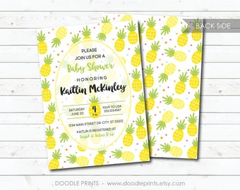 Baby Shower Invitation, Pineapple Baby Shower, Fruit Pineapples Party, Hawaiian Invitation, Tropical Summer Shower, Printable Digital Invite