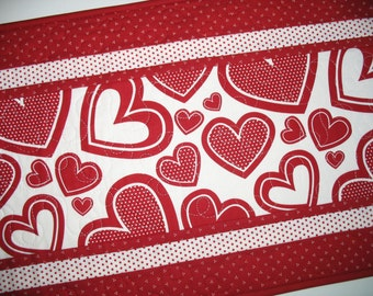 Valentine Table Runner Hearts with Polka Dots, quilted, red and white