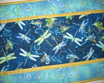 Dragonfly Table Runner or Wall Hanging, quilted, fabric from Kanvas by Benartex