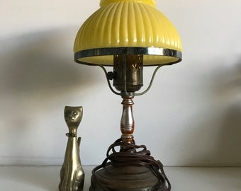 Vintage Yellow Glass Table Lamp