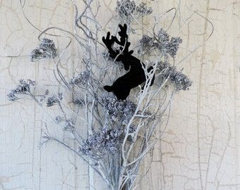 Dried Flower Bouquet Floral Arrangement Vintage Christmas Style Flocked Deer in Silver Sparkle Yarrow Flower with Glitter Ting Ting Twig