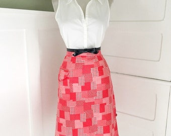 Vintage 1960s Red & White Bandana Plaid A-line Spring Summer Skirt