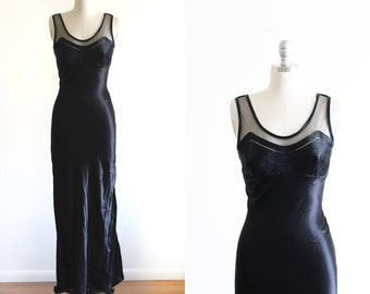 Vintage Black Satin Cocktail Dress / Form Fit / High Fashion / Small