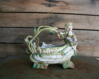SUPER SALE - Vintage Victorian Ceramic Basket