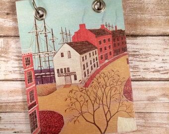Recycled  Notebook - Seaside Village - Notebook - Upcycled Vintage Book - Large Notepad - Refillable Notepad - Guest Book