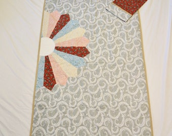 Gorgeous 40x60 Dresden Plate Quilt and Pillow Case