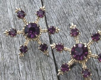Vintage Purple Rhinestone Snowflake Screw-Back Earrings