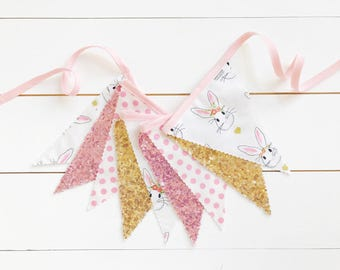 30% off SALE!! - Pink & Gold Bunny Pennant Banner - Bunting, Party Decoration, Photo Prop, w/ Sequin Fabric