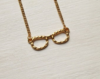 geek chic -necklace (gold tone glasses charm and gold plated chain minimal discreet neckpiece)