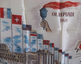 1960 vintage Rome Italy Olympics souvenir scarf summer athletes gymnastics diving cycling track and field basketball