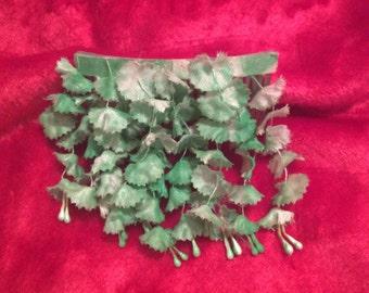 Floral hair comb handmade dangling green flowers