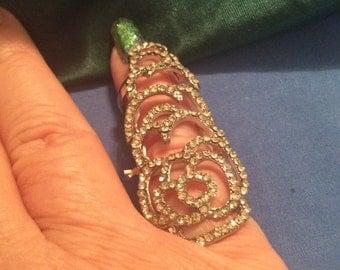 Long ring Crystal stretch vintage 80s rhinestones