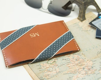 Personalized Leather Passport Sleeve with Elastic Tape Personalized Passport Case Monogram/HarLex/Christmas Gift/Gift for Him/Gift for Her