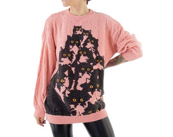 Pink Sparkle Crazy Kitty Sweater