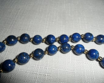 Vintage 14k Yellow Gold and Lapis 33 Inch Necklace