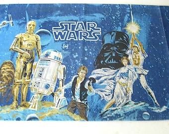 Vintage 1970s Star Wars Pillowcase // Original // A New Hope // Standard Case // Luke // Leia // Han // R2D2 // C3PO // Darth Vader