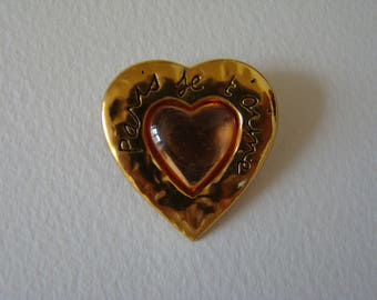 YSL Yves Saint Laurent Paris je t'aime Paris I love you pink heart brooch - special offer