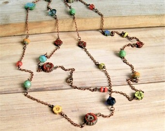 bohemian mix long beaded necklace, czech glass jewelry, colorful, boho, long necklace