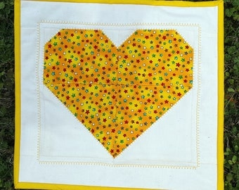 Yellow Star Print Heart Patchwork Mini Quilt, Quilted Wall Hanging or Remove the Wooden Dowel and make it a Candle Mat, Snack Mat or Mug Rug
