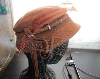 1940s coco brown wool hat with rhinestones netting & feathers