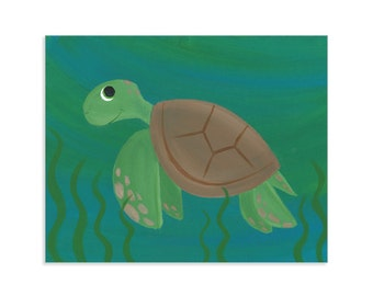 Cute Sea Turtle Original Art Print - Ocean Themed Kids Room