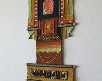 Vintage Boho Wall Decor, Tapestry, Textile, Handwoven, Metal bells
