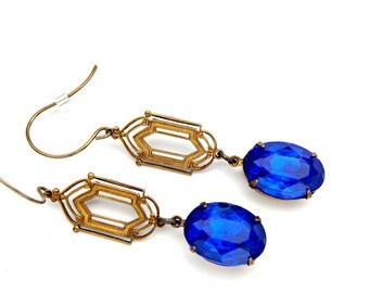 Blue Art Deco Earrings/ Art Deco Jewelry/ Blue Statement Earrings/ Downton Abbey Jewelry/ 1920s Jewelry/ Sapphire Blue Earrings/ 1920s