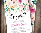 Baby Shower Invitation, Boho Baby Shower, Girl Baby Shower Invite, It's a Girl Baby Shower, Watercolor Floral in Pink, Green