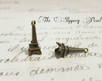 Eiffel Tower Charms Antiqued Bronze 24mm Paris Charms 10 pieces 3D Charms