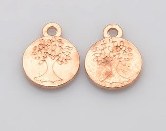 Tree Charms Tree of Life Charms Pendants Rose Gold Charms Rose Gold Tree Charms Double Sided Tree Charms