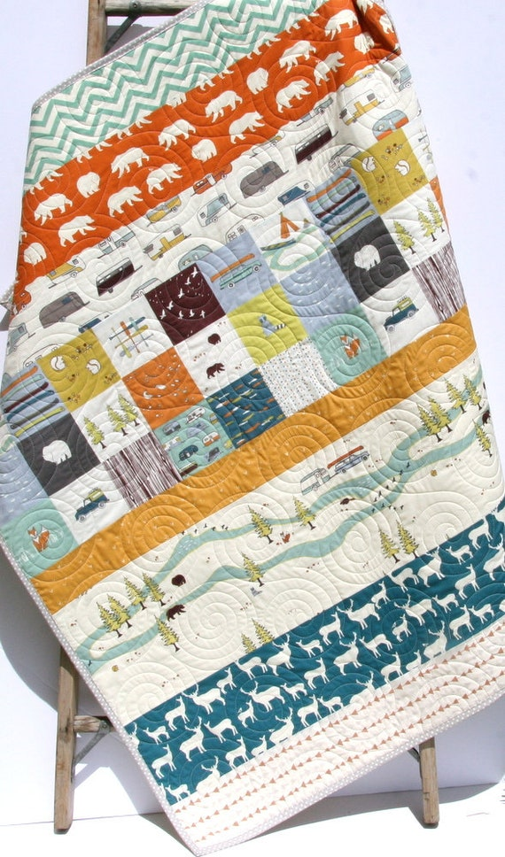 Quilts Handmade Woodland Baby Quilt Baby Blankets Woodland : camping quilt - Adamdwight.com