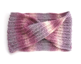 Pink Striped cowl scarf , Chunky Knit , Hand knitted , 100% wool , lace cowl,  Feminine Autumn / Winter accessory , Christmas gift for her