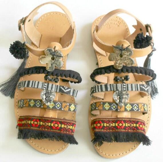 Bohemian Sandals/Black boho sandals- gypsy sandals