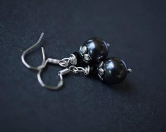 Black Pearl Earrings, Sterling Silver, Crystal Bead Earrings, Swarovski Earrings, Black Swarovski Pearls, Silver Earrings