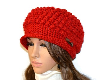 Womans crochet beanie hat,Crochet beanie Hat,Crochet beanie,chunky peak cap style,newsboy hat,womans hat,newsboy red hat,Valentines gift