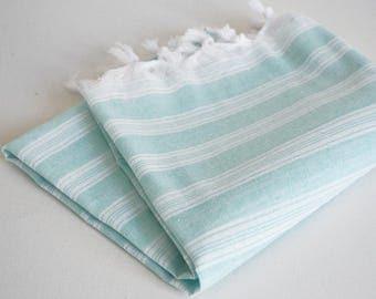 NEW / SALE 70 OFF/ Turkish Beach Towel Peshtemal / Ice Blue / Wedding Gift, Spa, Swim, Pool Towels and Pareo